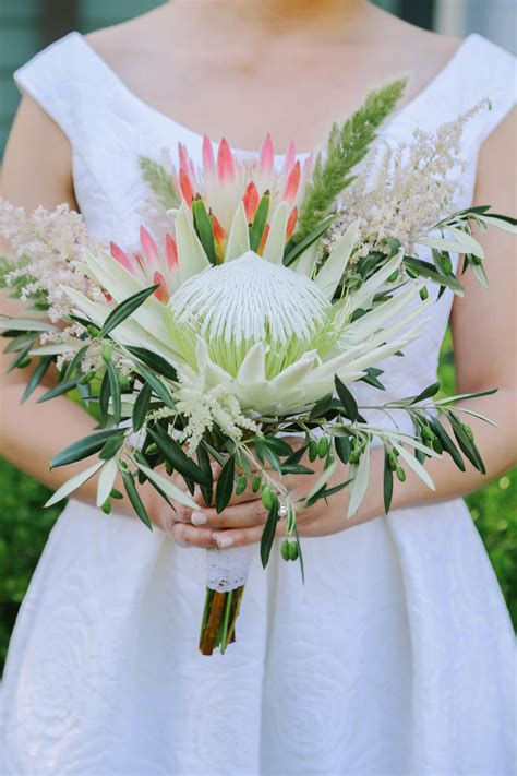 White And Pink Protea Bridal Bouquet