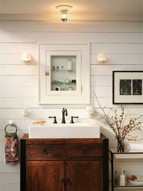 farmhouse bathroom white sink inset  antique dresser