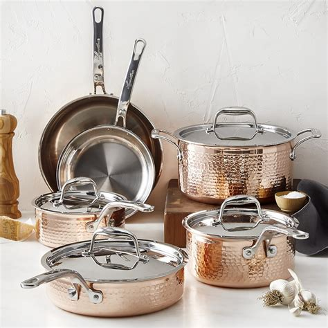 lagostina martellata hammered copper  piece cookware set williams sonoma