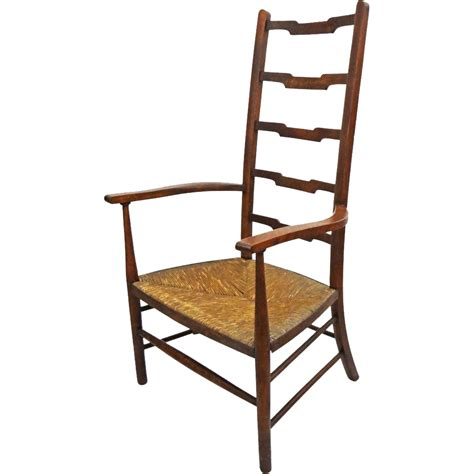 arts and crafts movement style ladder back arm chair seat c from aa on ruby
