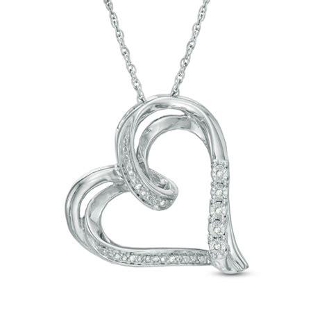 zales diamond accent tilted ribbon heart pendant