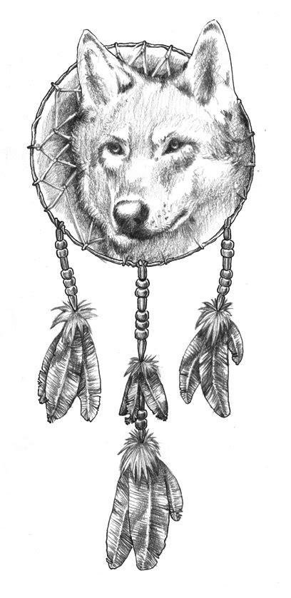 Severe white wolf face in the dream catcher tattoo design