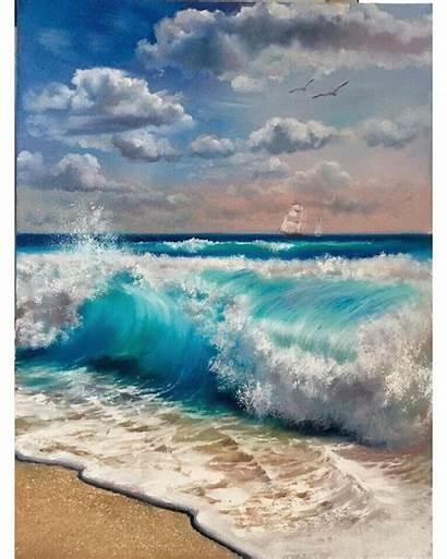 Seascape Paintings Vagues Mer August Ocean Watercolor