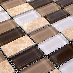 Stone, Glass, Mosaic, Tiles, Rectangle, Straight, Joint, With, Marble, Tile, Backsplash, Wall, Bathroom, Sg128