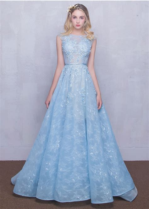 Prom Dresses Light Blue by Real Light Blue Lace Beaded Flowers Prom Dress For