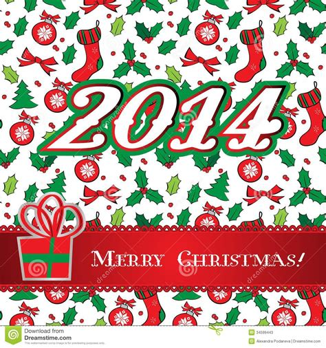 Merry Christmas Holly Greeting Card Design Stock Vector
