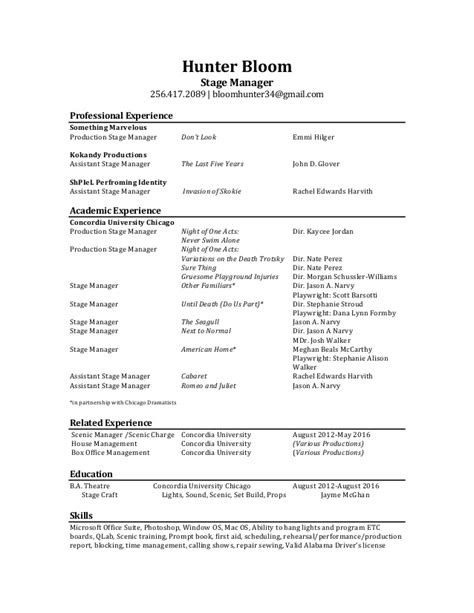 Stage Manager Resume by Stage Manager Resume Bloom