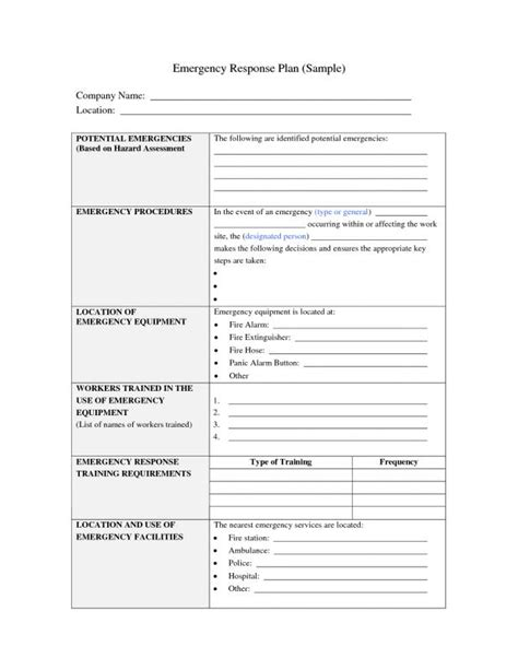 Emergency Operation Plan Template by Emergency Response Plan Template Beneficialholdings Info