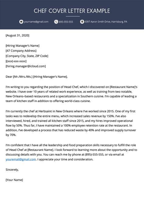 chef cover letter    resume genius