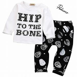 pudcoco 2017 autumn spring infant clothes baby clothing With letter clothing