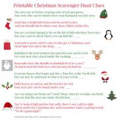 printable christmas scavenger hunt clues for present finding fun between us parents