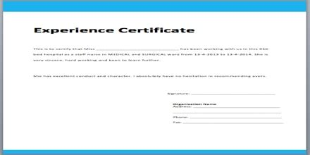 application format  experience certificate assignment