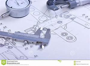 Blueprints And Machine Parts Stock Image