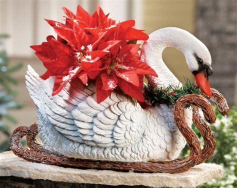 elegant sleigh swan plant flower pot decor christmas
