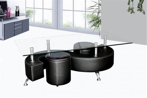 sous bureau original table basse avec poufs wendy verre et simili cuir noir