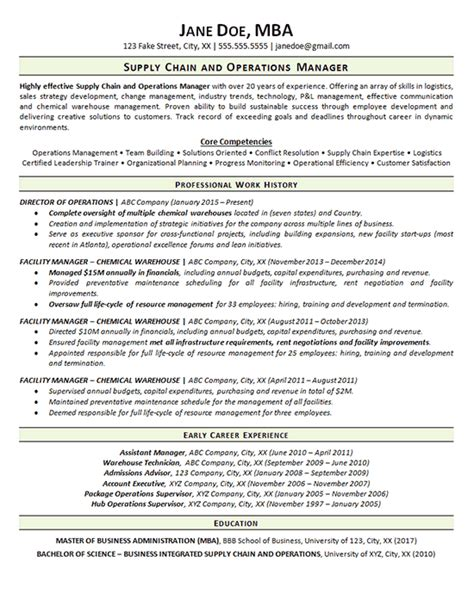 supply chain resume exle operations manager