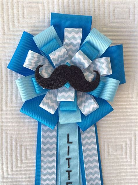Baby Shower Pins For Corsages Mustache Baby Shower Corsage Pin Blue On Etsy