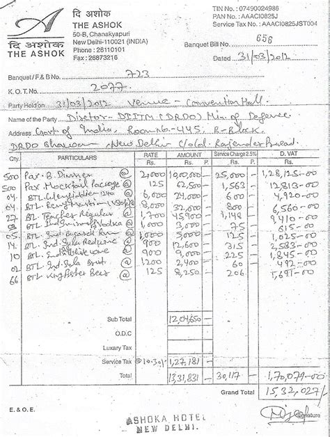 the ashok hotel bill for drdo party