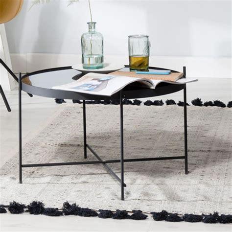 table de cuisine en verre trempé table basse ronde plateau verre noir pieds métal cupid zuiver decoclico