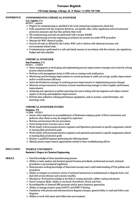 Chemical Engineering Resume by Collection Of Solutions Chemical Engineering Resume