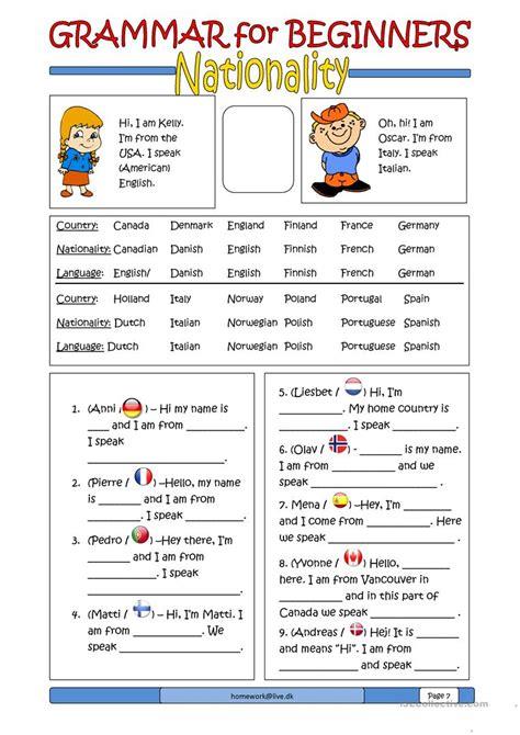 grammar  beginners nationality worksheet  esl