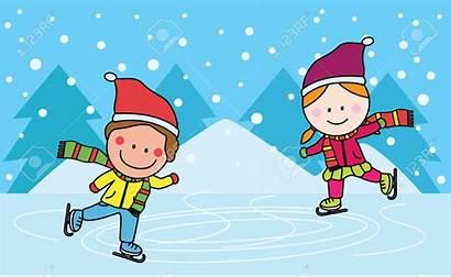 Skating Ice Clipart Rink Children Skate Cartoon