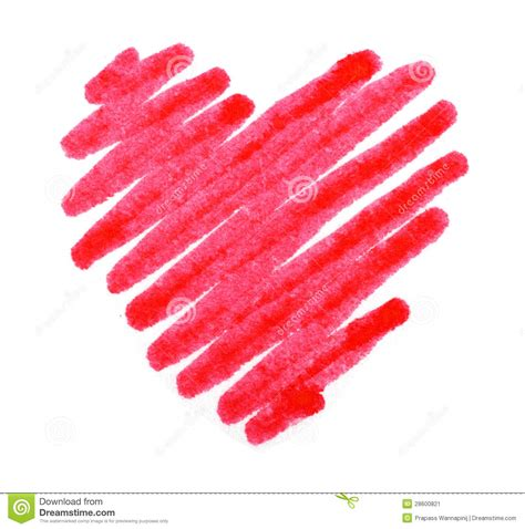 red color drawing stroke heart shape stock image image
