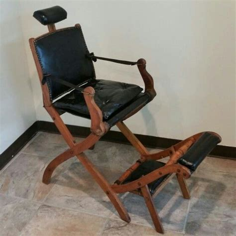 koken fold up wooden barber chair leather arms replaced