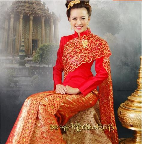 thailand traditional wedding dress red high quality