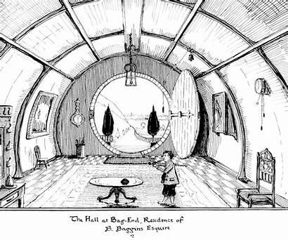 Tolkien End Bag Hall Hobbit Drawing Hole