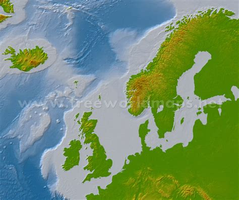 northern europe physical map