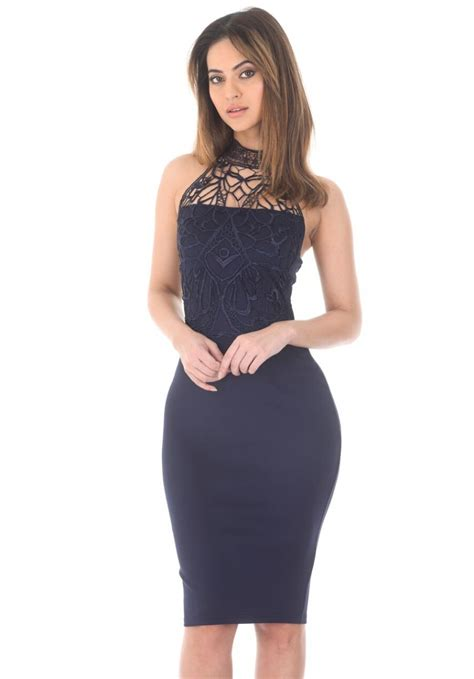 women s navy crochet top bodycon midi dress ax paris usa