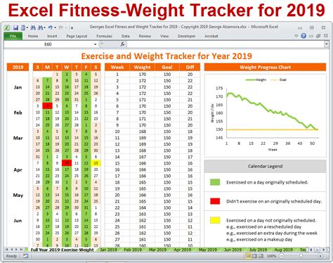 excel fitness weight tracker  year  spreadsheet