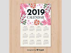 Modelo de calendário 2019 floral em aquarela Baixar