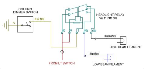 Auto Dimmer Switch Wiring Diagram by Hooking Up The Vw Column Switch For Signal Lights And