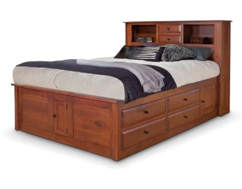 Captains Bed With Bookcase Headboard simplicity captain s bed w bookcase headboard and
