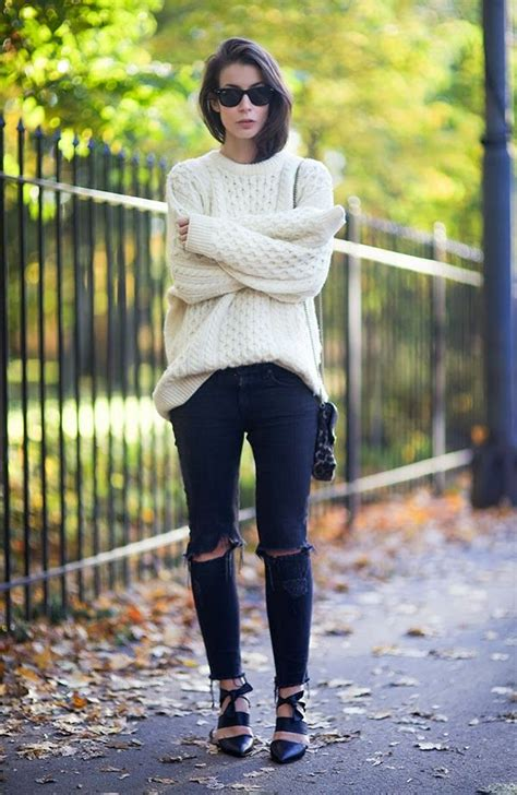 jeans sweater ripped oversized classy skinny winter hipster outfits ootd fall sweaters swag clothes chunky chic outfit glasses street comfy