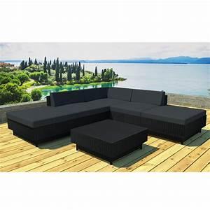 Salon De Jardin 4 Places : salon de jardin en r sine acapulco 4 places noir ~ Farleysfitness.com Idées de Décoration