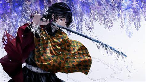 kimetsu  yaiba giyu tomioka katana uhd  wallpaper pixelz