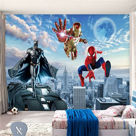 custom  photo wallpaper batman iron man wallpaper spider