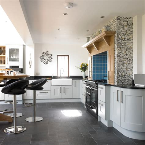 grey floor kitchen pale blue kitchen with range cooker ideal home 1489