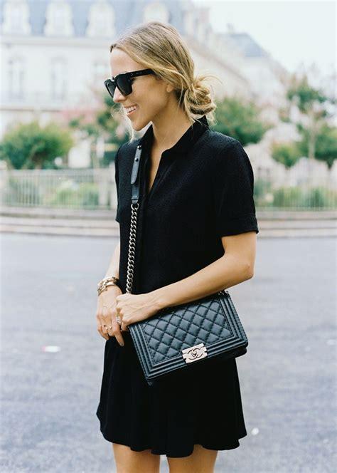 black dress chanel boy bag style pinterest chanel