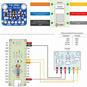 Wiring The Tls2591 High Range Lux    Light Intensity    Ambient Light Sensor On Microcontroller