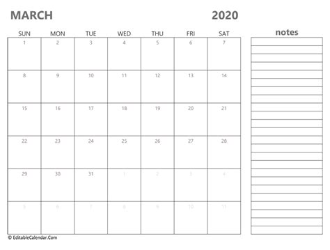 march  printable calendar  holidays