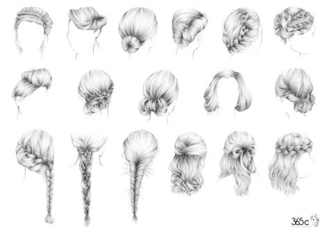braided hairstyle sketches hair sketches pinterest