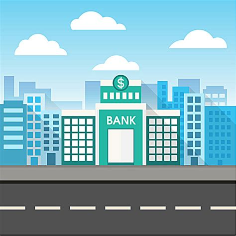 Cartoon Blue Background Bank Building, Cartoon, Blue, Bank