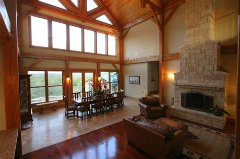 timber frame living room  fireplace