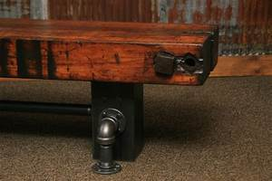 Steampunk industrial antique wood beam bench or coffee for Wood beam coffee table