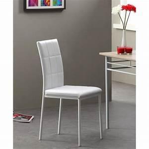 Dona lot de 4 chaises de salle a manger blanches achat for Salle À manger contemporaineavec chaise blanche pas cher