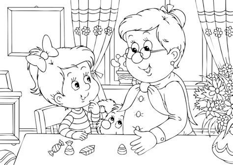 Grandma And Me Coloring Page For Grandparent's Day